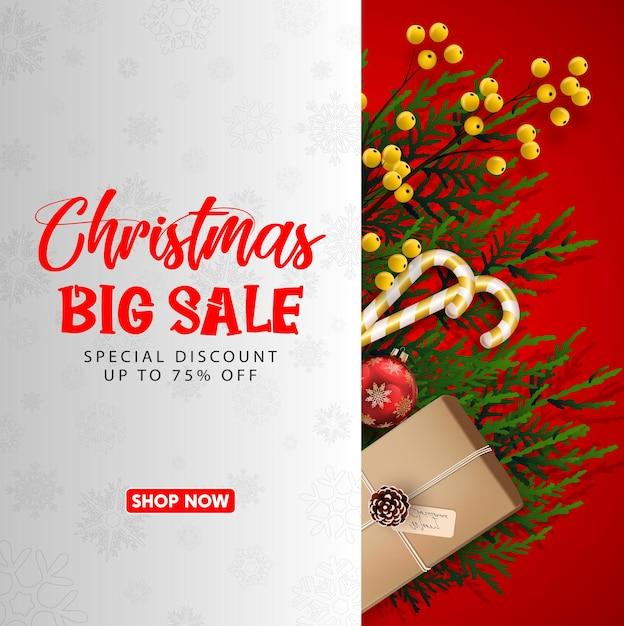 Weihnachtsverkauf mit rotem realistischem bandbanner und geschenkboxen. Premium Vektoren