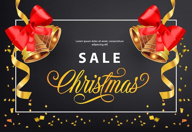 Weihnachtsverkauf-plakatentwurf. goldschellen mit roten bögen Kostenlosen Vektoren