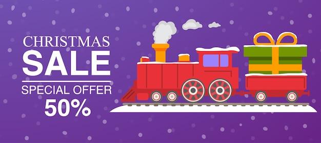 Weihnachtsverkauf rote dampflokomotive mit wagen Premium Vektoren