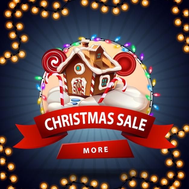 Weihnachtsverkauf, runde rabattfahne mit weihnachtslebkuchenhaus Premium Vektoren