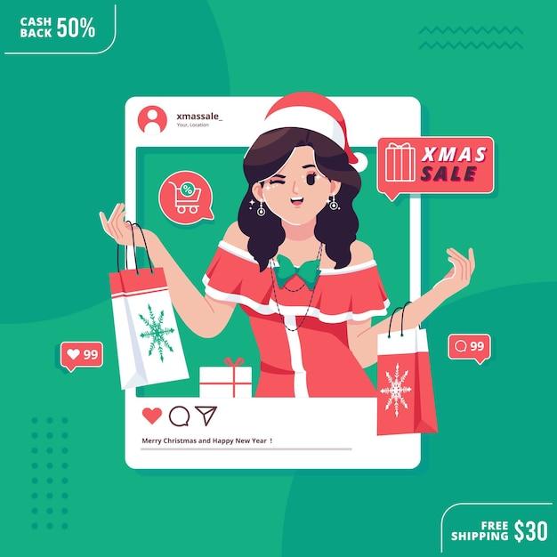 Weihnachtsverkauf social media konzept Premium Vektoren