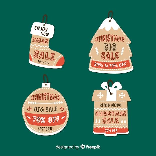 Weihnachtsverkauf-tag-sammlung Kostenlosen Vektoren
