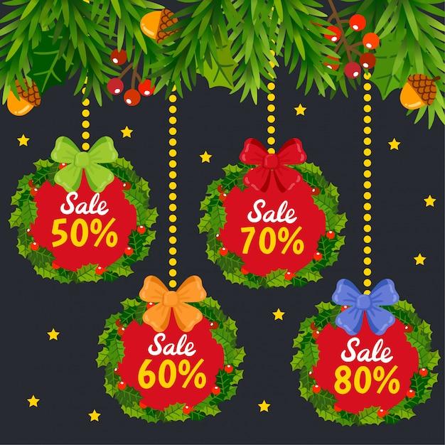 Weihnachtsverkauf tags und coupons. Premium Vektoren