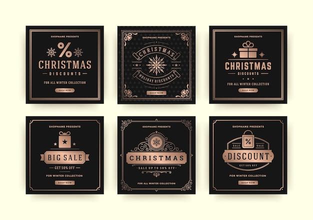 Weihnachtsverkauf web-banner für social media mobile apps. rabatt-promo-layouts für ihre website, ihr blog und ihre social-media-beiträge. Premium Vektoren