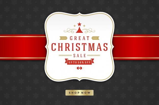 Weihnachtsverkaufs-aufkleberdesign auf musterhintergrund Premium Vektoren