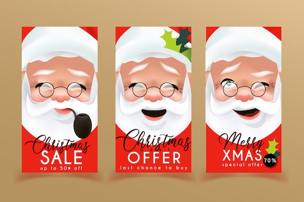 Weihnachtsverkaufs-fliegerschablonen mit weihnachtsmann Premium Vektoren