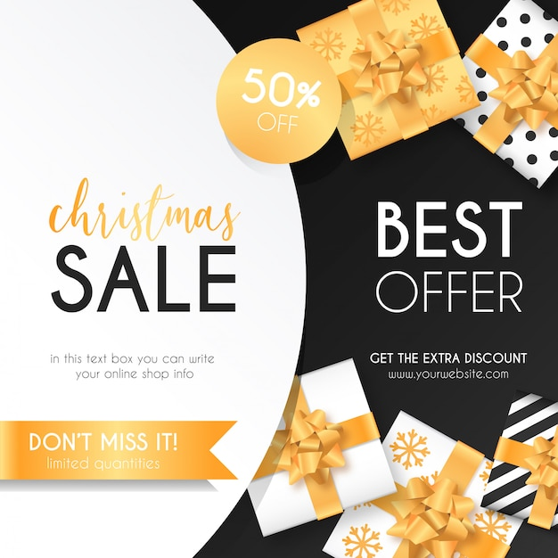 Weihnachtsverkaufs-hintergrund mit eleganten geschenken Kostenlosen Vektoren