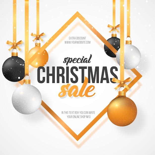 Weihnachtsverkaufs-hintergrund mit weihnachtskugeln Kostenlosen Vektoren