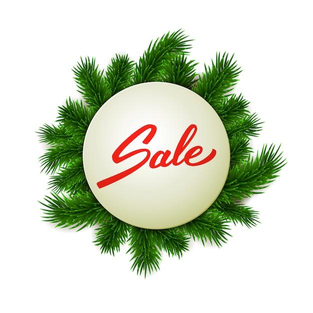 Weihnachtsverkaufsaufkleber auf tannenfahne, hand beschrifteter verkaufstext, werbung, einzelhandel, vektorillustration Premium Vektoren