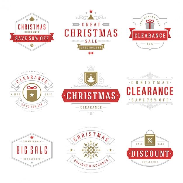 Weihnachtsverkaufsaufkleber und -abzeichen Premium Vektoren
