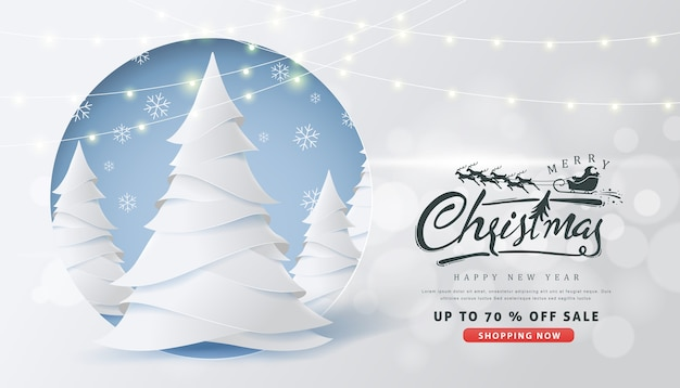 Weihnachtsverkaufsbanner mit kalligraphischer weihnachtsbeschriftung und weihnachtsmannschlitten-rentieren Premium Vektoren