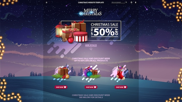 Weihnachtsverkaufsdesign-websiteschablone mit winterwald im violetten hintergrund Premium Vektoren