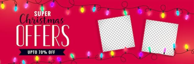 Weihnachtsverkaufsfahne mit bildraum Kostenlosen Vektoren