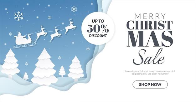 Weihnachtsverkaufsfahne mit weihnachtsmann und rentierillustration Premium Vektoren