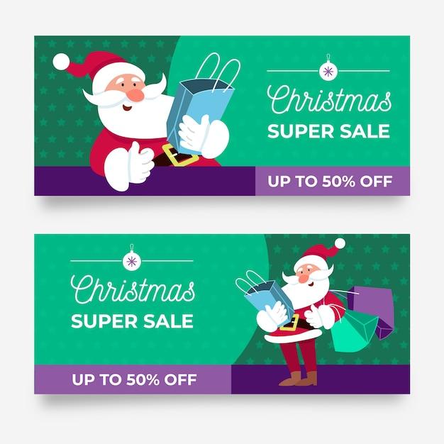 Weihnachtsverkaufsfahnen im flachen design Kostenlosen Vektoren