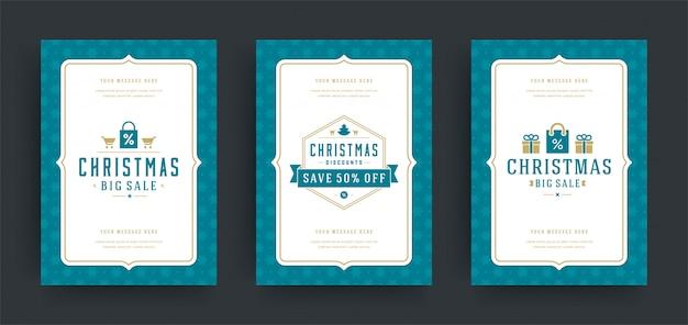 Weihnachtsverkaufsflieger oder fahnendesignsatz Premium Vektoren