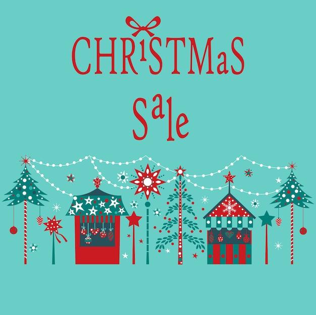 Weihnachtsverkaufskarte. Premium Vektoren