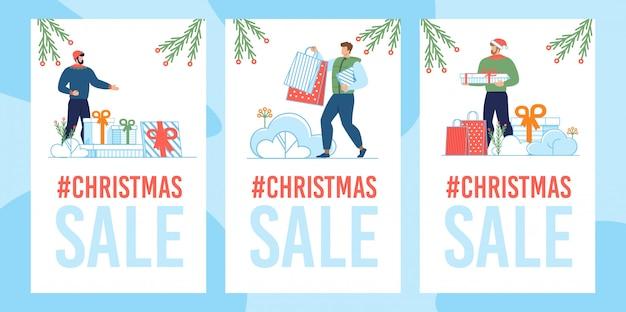 Weihnachtsverkaufskartensatz Premium Vektoren