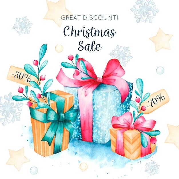 Weihnachtsverkaufskonzept im aquarell Kostenlosen Vektoren