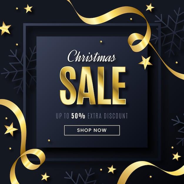 Weihnachtsverkaufskonzept mit goldenem hintergrund Kostenlosen Vektoren