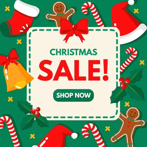 Weihnachtsverkaufsshop jetzt im flachen design Kostenlosen Vektoren