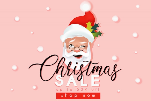 Weihnachtsverkaufswebsite-fahnenschablone mit weihnachtsmann Premium Vektoren