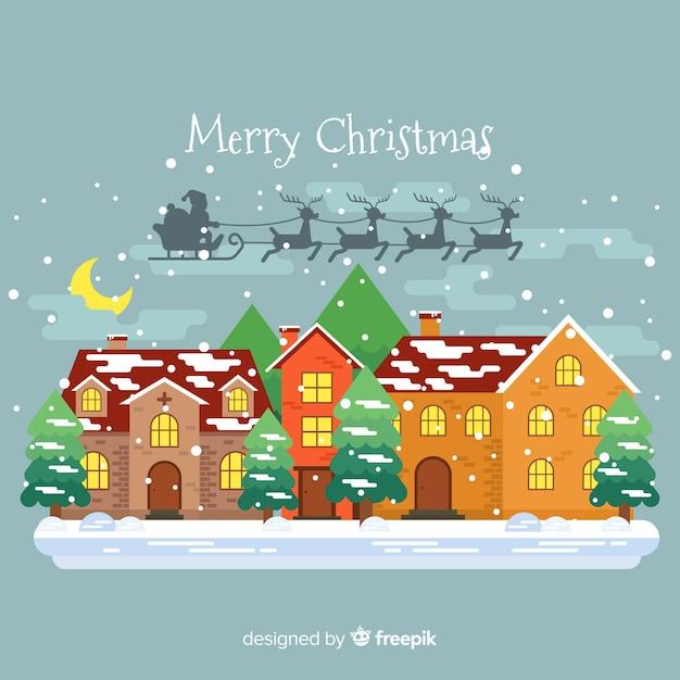 Weihnachtsweihnachtsmann-pferdeschlitten-schattenhintergrund Kostenlosen Vektoren