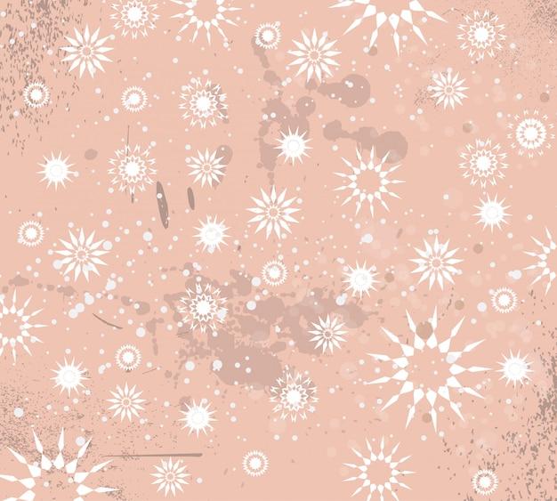 Weihnachtsweinlese-hintergrund mit tropfen, schneeflocken Premium Vektoren