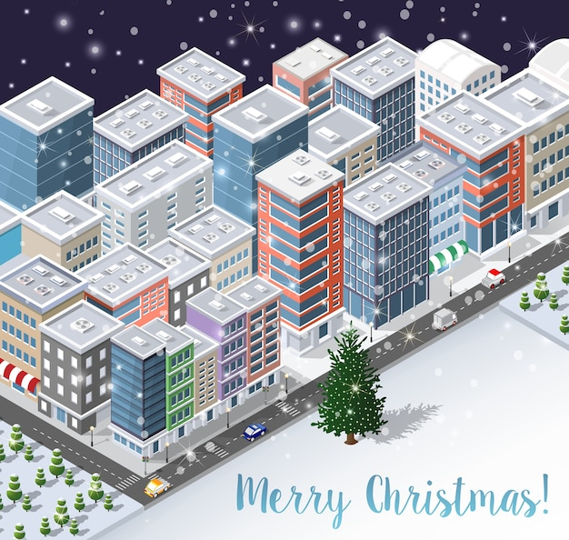 Weihnachtswinter-stadthintergrund d Premium Vektoren