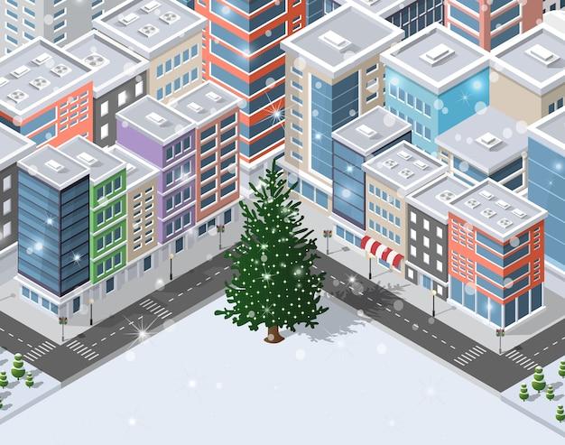Weihnachtswinter-stadthintergrund Premium Vektoren