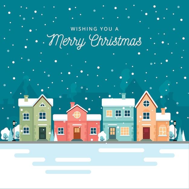 Weihnachtswinter-stadtstraße mit kleinen häusern und bäumen auf hintergrund. Premium Vektoren