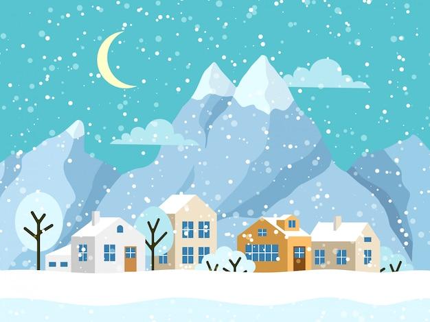 Weihnachtswinterlandschaft mit kleinen häusern Premium Vektoren