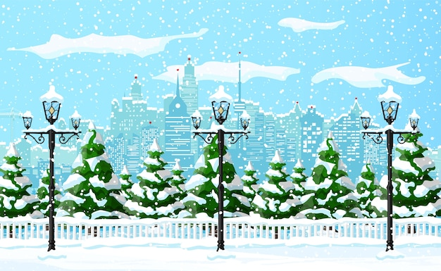 Weihnachtswinterstadtbild, schneeflocken und bäume. stadtpark schneegasse und gebäude. Premium Vektoren