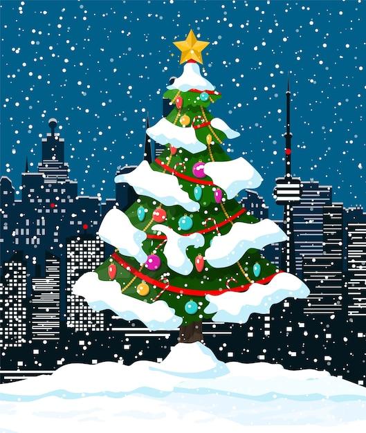 Weihnachtswinterstadtbild, schneeflocken und bäume Premium Vektoren