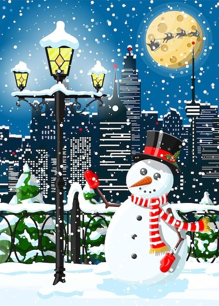 Weihnachtswinterstadtbild, schneemann und bäume. stadtpark schneegasse und gebäude. Premium Vektoren