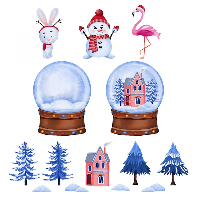 Weihnachtszeichen und glaskugel Premium Vektoren