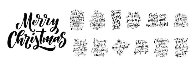 Weihnachtszitate. winterweihnachtsslogans. hand gezeichnete kalligraphische beschriftung. Premium Vektoren