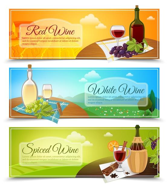 Wein-banner eingestellt Kostenlosen Vektoren