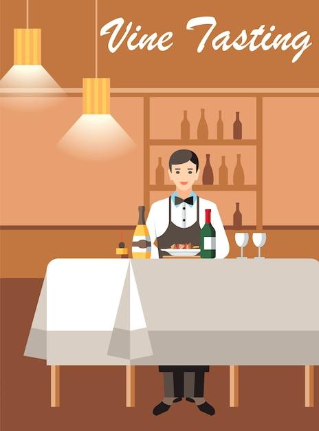 Wein-degustation mit expert flat vector banner Premium Vektoren