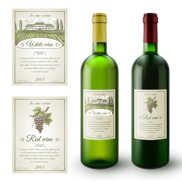 Wein-etiketten-set Kostenlosen Vektoren