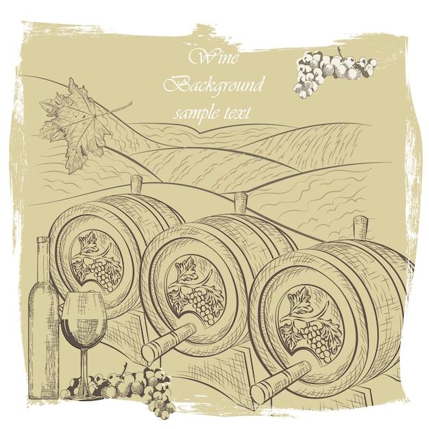 Wein hintergrund design Kostenlosen Vektoren
