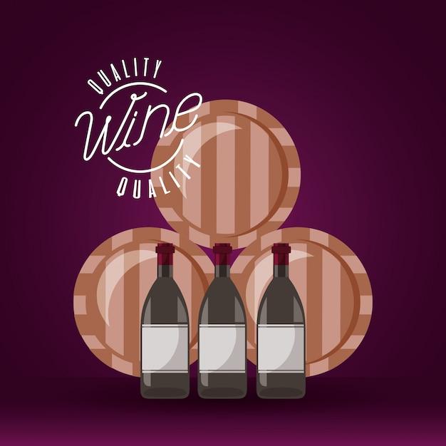 Wein holzfässer und flaschen Kostenlosen Vektoren