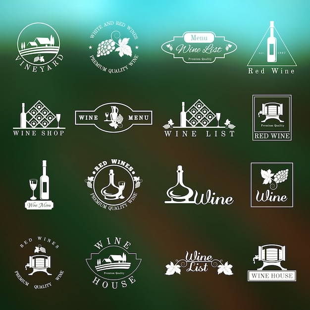 Wein logo set Kostenlosen Vektoren
