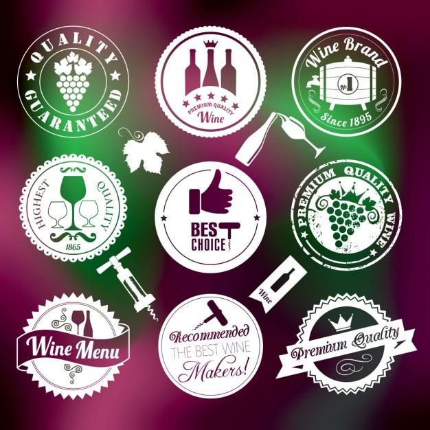 Wein-medaillen-satz Kostenlosen Vektoren