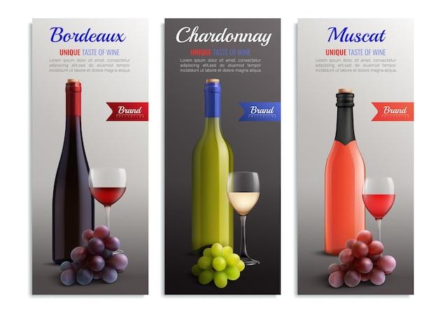 Wein realistische vertikale banner mit präsentation des einzigartigen geschmacks bordeaux chardonnay muscat vielzahl von wein Kostenlosen Vektoren