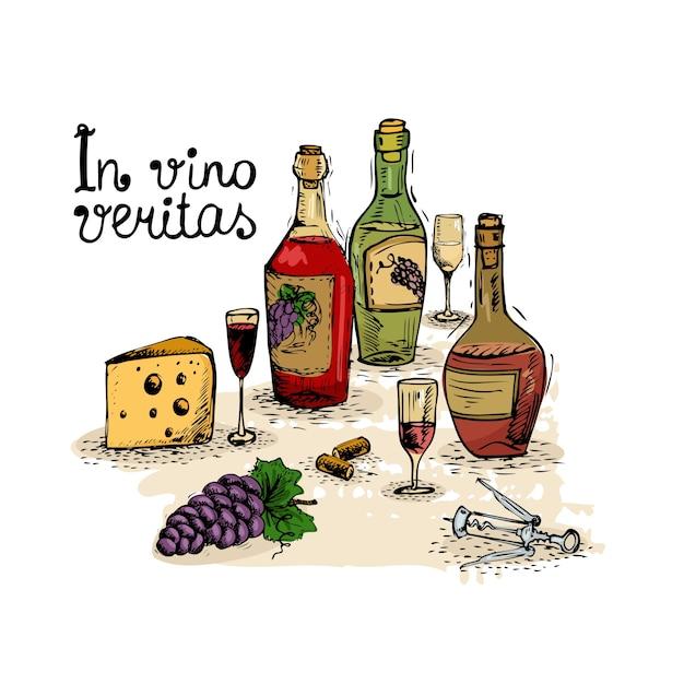 Wein stilleben Kostenlosen Vektoren