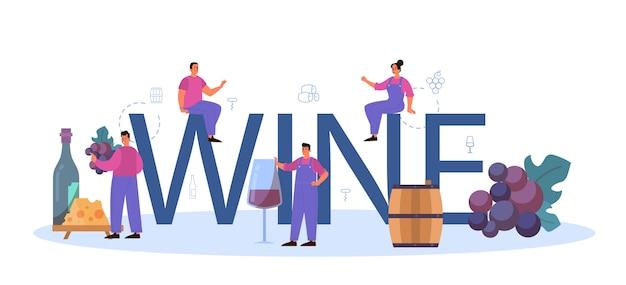 Wein typografische überschrift. Premium Vektoren