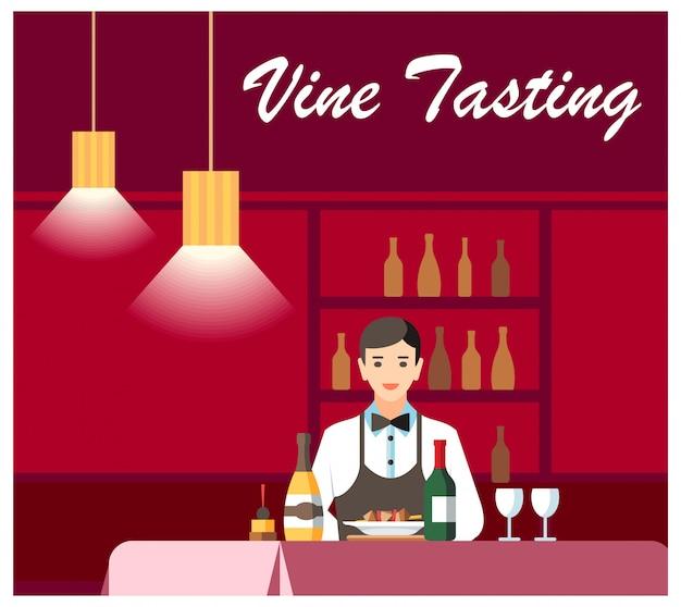 Wein und käse degustation flat vector banner Premium Vektoren