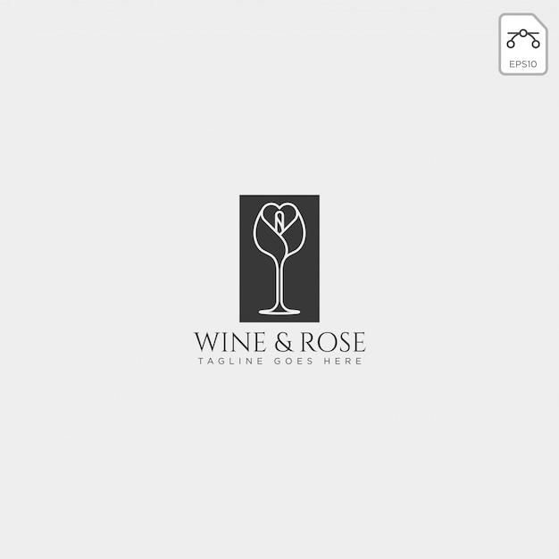 Wein und rosafarbener logoschablonenvektor lokalisiert, ikonenelemente Premium Vektoren