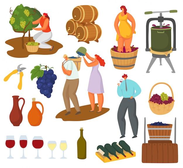 Wein und weinherstellung illustrationsset, bauern winzer charaktere ernten, pressen, wein machen Premium Vektoren